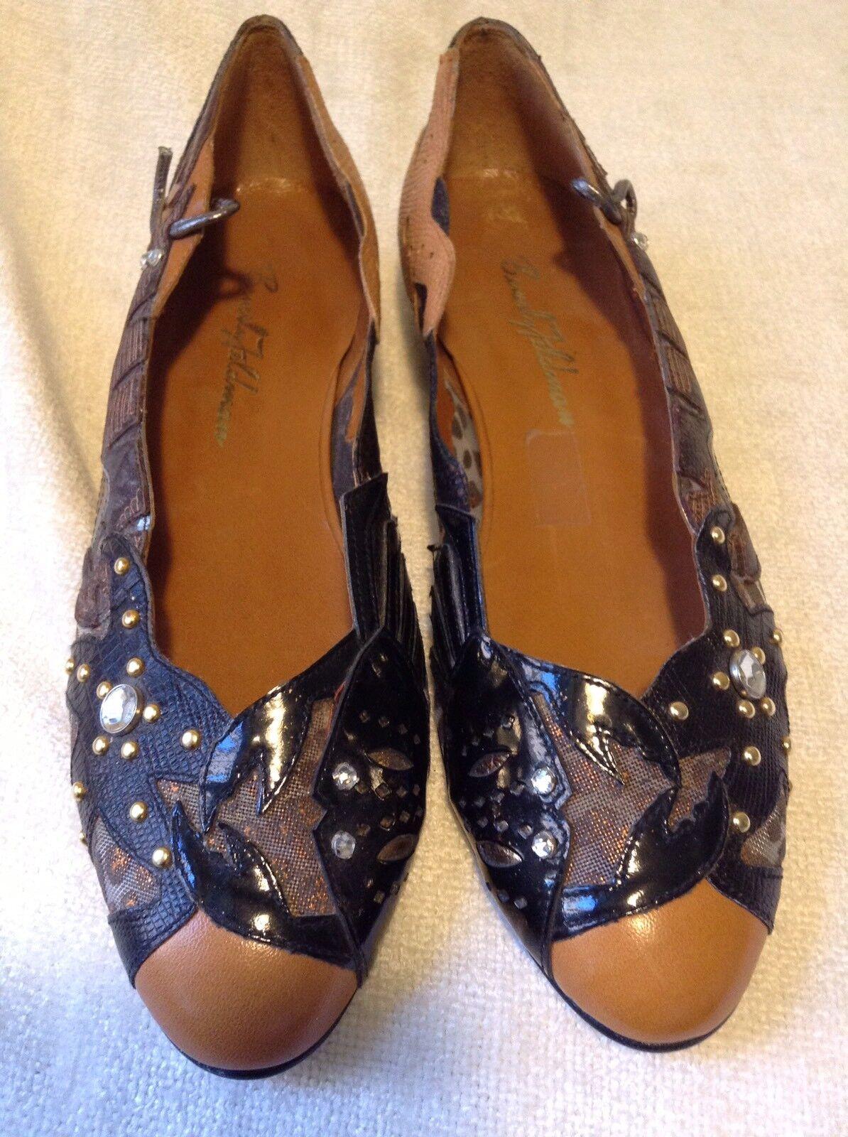 Beautiful New Beverly Feldman Black Leather Embellished Flats Size 7M