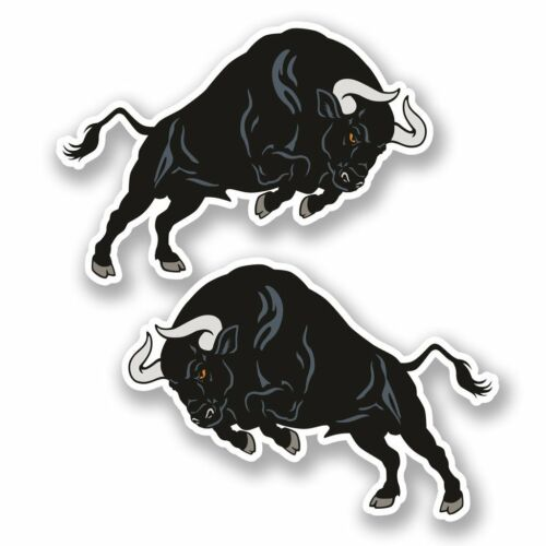 2 x Black Spanish Bull Vinyl Sticker Laptop Travel Luggage Car #5534