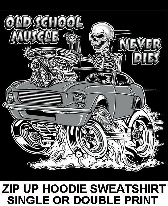 1967-68 OLD SCHOOL MUSCLE HOT ROD RACE BLOWER CAR SKULL ZIP HOODIE SWEATSHIRT O4