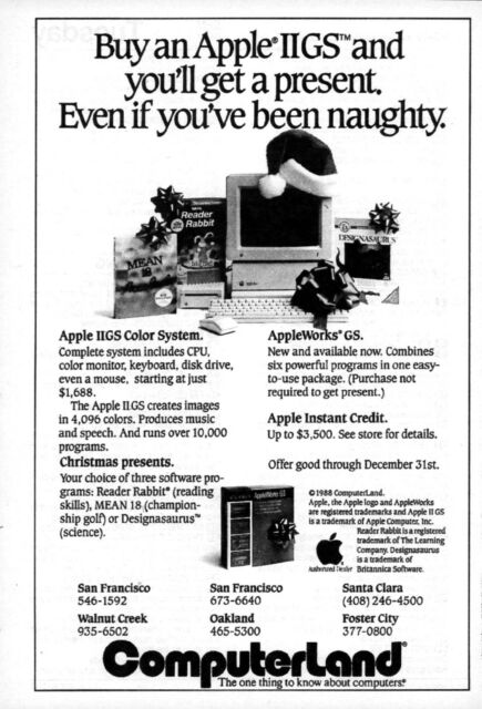 1988 Apple IIGS Computer Christmas tv guide ad Computerland California  (TV9)
