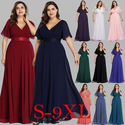 Ever Pretty Women's Plus Size Double V Neck Evening Party Maxi Dress 09890