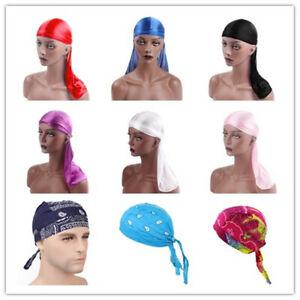Durag Headwear Headband Pirate Cap Unisex Solid Color Hat Smooth Silk Nylon Cap