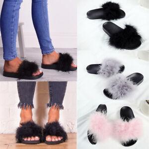 5db56a1a462 ... Femme-fourrure-tongs-sandales-mules-claquettes-chaussons-pantoufles-