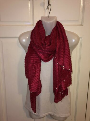 WOMENS LADIES LONG RED SILKY SHINY PEARL SCARF,SHAWL,SHOULDER WRAP