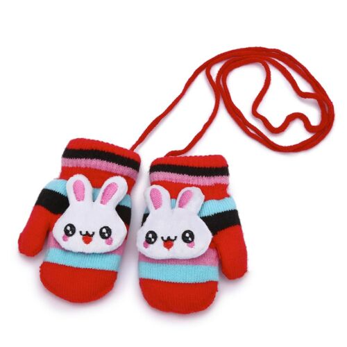LeahWard Unisex Kids Hang Neck Gloves Knitted Fleeced String Thick Cartoon Mitte