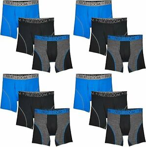 Fruit of the Loom Men's Breathable Boxer Briefs 12-Pack Performance Stretch
