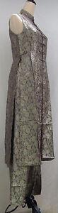 Rose-Pattern-Silk-Jacquard-Long-Sleeveless-Dress-w-Matching-Pants-Set-8803L