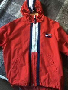Details zu Vintage 90s Mens XL TOMMY HILFIGER Spell Out Full Zip Windbreaker Jacket Red