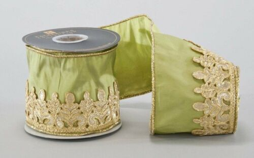 Katherine´s Collection Schleifenband Grün Gold Borte 1Meter Tischband 10cm breit