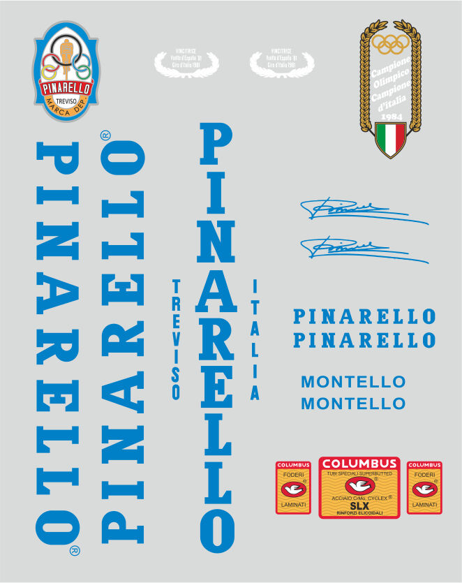 PINARELLO MONTELLO FRAME DECAL SET blueeE