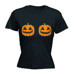 97e4f4a70 Halloween Pumpkin Boobs WOMENS T-SHIRT Evil Breast Joke Tee Funny ...