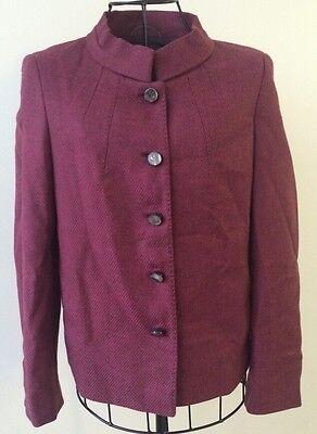 Rena Lange Cranberry Wool & Cashmere Mandarin Collar Blazer Sz 4 EUC $1795