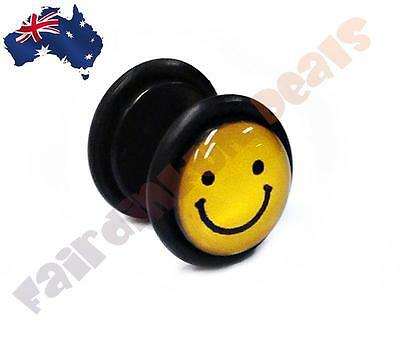 16G Smiley Yellow Acrylic Fake Plugs Sold as a Pair
