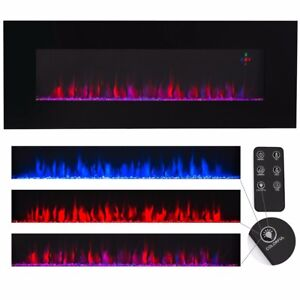 Contemporary-Electric-Fireplace-Black-50-034-Wall-Mount-Heater-Multicolor-flame-new