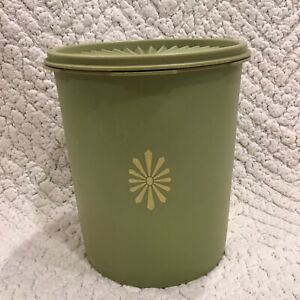 Vintage-Avocado-Olive-Green-Pattern-Tupperware-Servalier-Canister-807-4-With-Lid