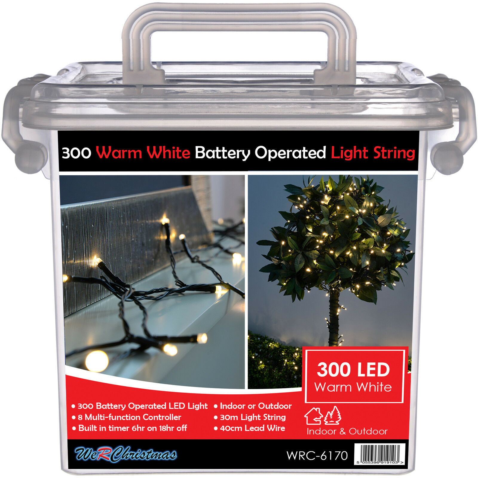 Outdoor Battery Operated 300 Multi-Function LED Lights with Timer 30m Warm White