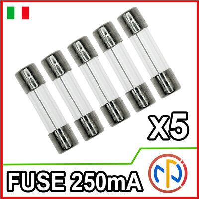 5x Fusibile ritardato 5x20mm 250V 160mA ampere fusibili ritardati 5 pezzi  7423