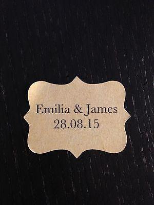 28 X Vintage Kraft Marrone Matrimonio Carta Adesivo Etichette Personalizzate Baskerville-