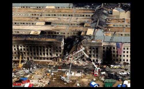 9//11 Attacks Pentagon Aerial PHOTO Rescue Crews Flight 77 Plane Crash Site