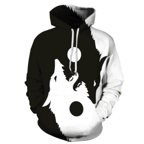 Black and White Wolf Yin Yang Balance Graphic Men Women Hoodies Jackets Shirts