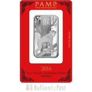 1oz Pamp 2016 Year Of The Monkey Silver Bar Ebay