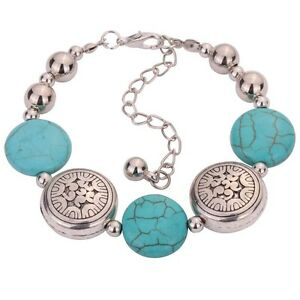 Tibetan-Silver-Oblate-Beaded-Bangle-Turquoise-Chain-Bracelet-Adjustable-zk