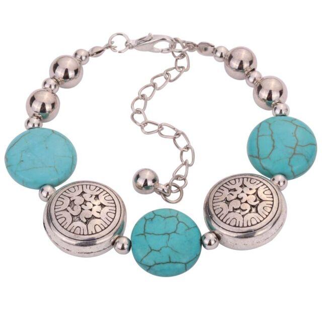 Fashion Jewelry Tibetan Silver Bangle Turquoise Women Charm Bracelet