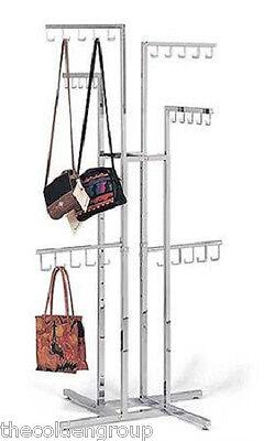 Planet Rack Adjustable 4-Way 30 Hook Chrome Retail Floor Handbag Purse Display
