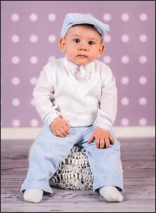 baby boy white blue smart suit outfit baptism christening wedding