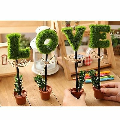 Green LOVE Shaped Grass Flower Pot Writing Pen Ball Point Pen Stationery