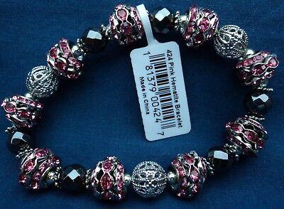 Hematite and pink metallic stretchy bracelet