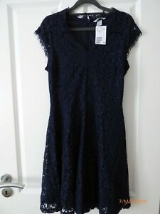 0a08786f5e8ad Details zu Dunkelblaues Kleid aus Spitze mit kurzem Arm von H&M in Gr. S