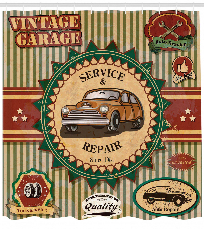 Vintage Garage Theme Old Car Repair Labels Retro Art Print Shower Curtain Set F71d0f