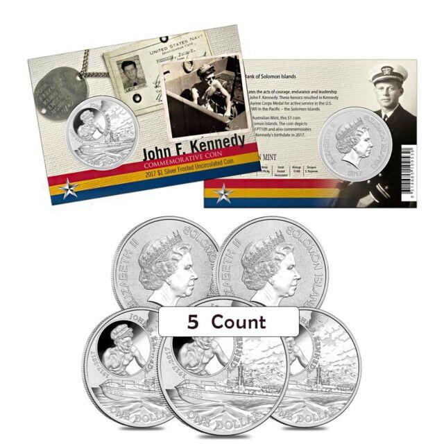 Lot of 5 - 2017 1 oz Silver John F. Kennedy JFK Solomon Islands $1 Coin .999
