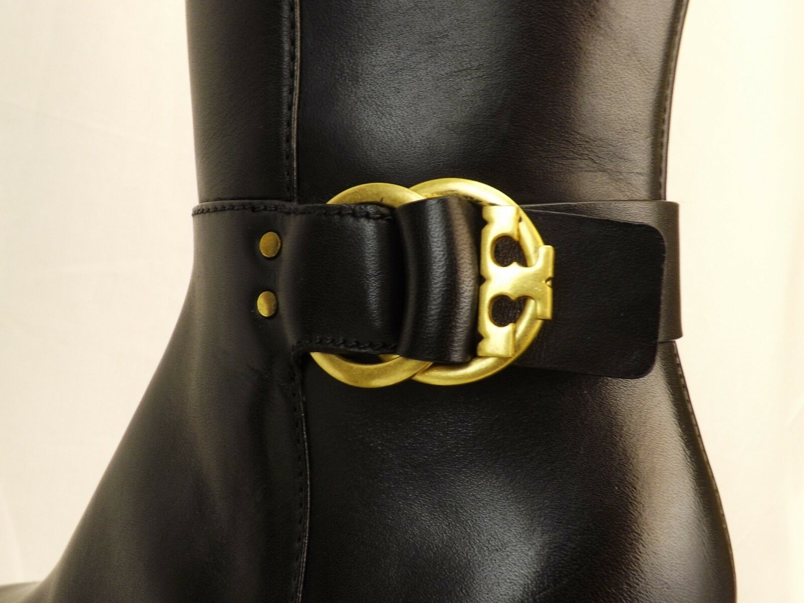NIB TORY BURCH MARSDEN schwarz LEATHER REVA REVA REVA BUCKLE WIDE CALF RIDING ZIP Stiefel 10 6d1e85