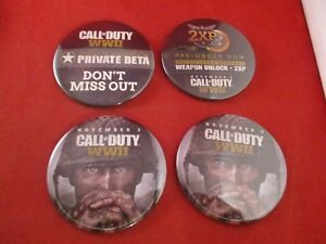 4 Pins Call of Duty WWII Xbox One Playstation 4 PS4 PC Promotional Pinback Set A