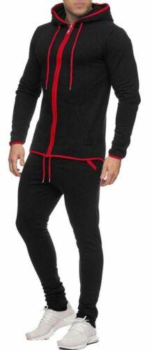Mens Tracksuit Set New Contrast Fleece Hoodie Top Bottoms Joggers Pants S-XL