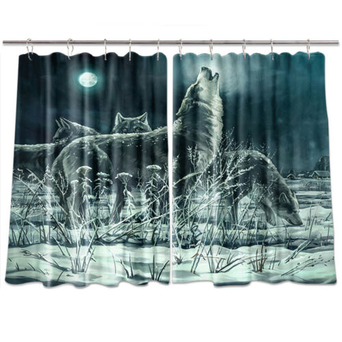 55X39 Inches Crying Wolf Window Treatments for Kitchen Curtains 2 Panels