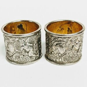 Antique-Etched-Silver-Plate-Napkin-Rings-Cherubs-Angels-Filagree-Set-of-2
