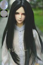 "7-8"" 1/4 BJD Black Straight Long Wig LUTS Doll SD DZ DOD MSD Pullip Hair +Cap"