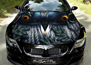 Owl Full Color Graphics Adhesive Vinyl Sticker Fit Any Car Hood - Custom vinyl decals for car hoodsowl full color graphics adhesive vinyl sticker fit any car hood