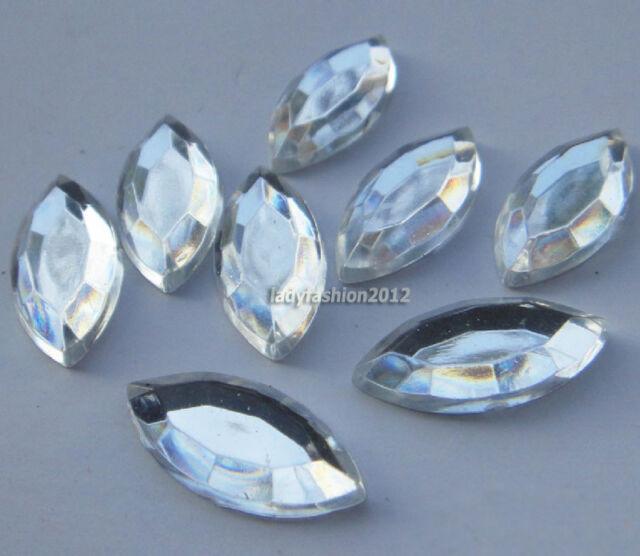 100PCS Clear Marquise flat back rhinestone nail art cell phone decorations Gems