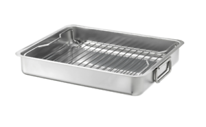 KONCIS-Roasting-pan-with-grill-rack-stainless-steel-16x13-034-NEW