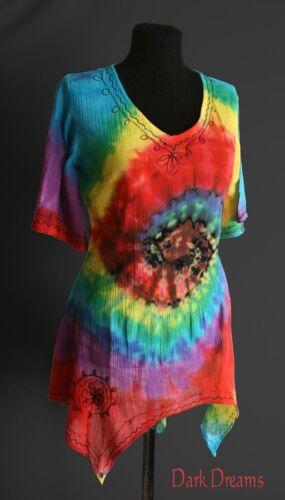 Gothic Wicca Pagan Ethno Tunika Bright Pixie Shirt Regenbogen Longshirt 36 38