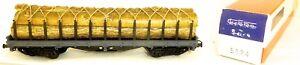 transport-de-bois-Wagon-plat-gris-ELECTROTREN-5124-H0-1-87-emballage-d-039-origine