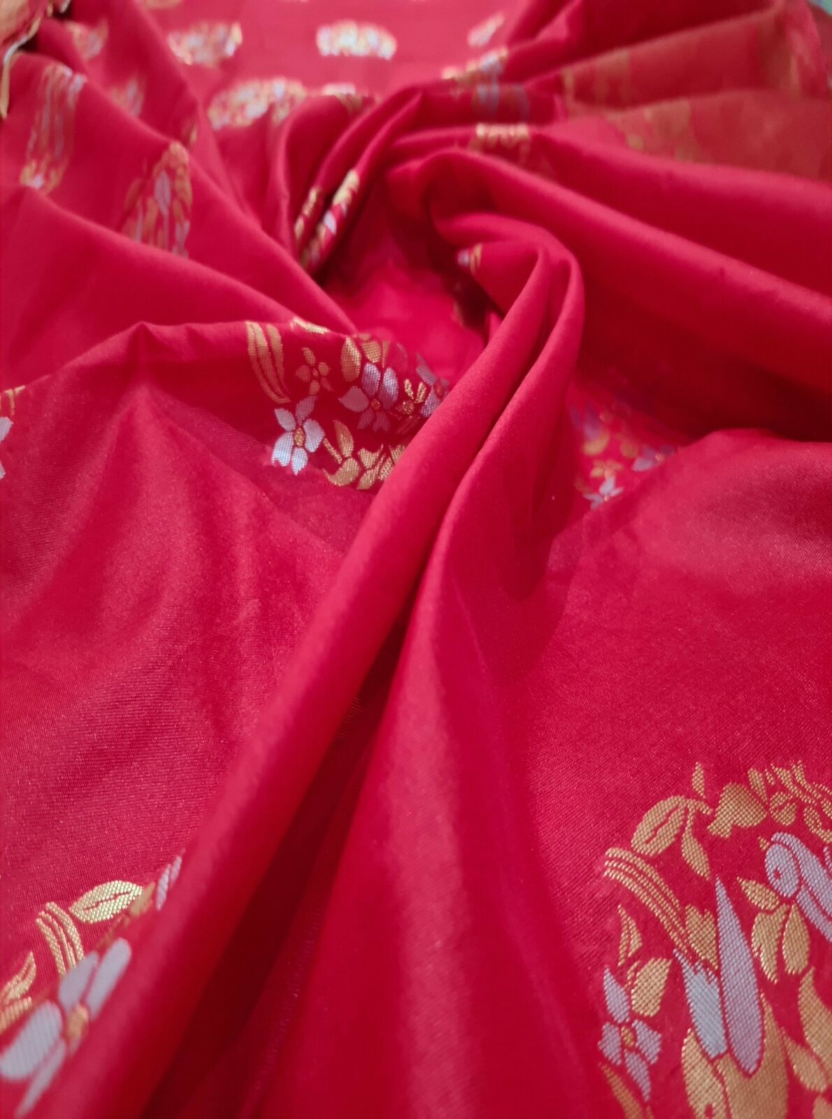 Red & Golden blended Silk Saree - Light Weight - Double Broad Border - Fall and