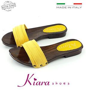 Zoccoli-Bassi-GIALLI-Scarpe-Made-in-Italy-35-36-37-38-39-40-41-42-Tacco-2-cm
