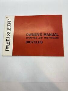 Vintage Peugeot Bicycle Owners Manual