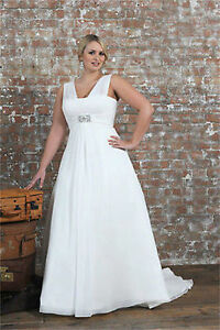 Image Is Loading Chiffon Bridal Gown V Neck Wedding Dress Stock