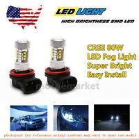 2x White Led Fog Light Cree 80w For 2011-2012 Dodge Ram 3500 Sport High Power Us